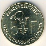 West African States, 5 francs, 1965–2015