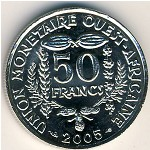 West African States, 50 francs, 1972–2015