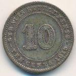 Стрейтс-Сетлментс, 10 центов (1919 г.)