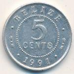 Белиз, 5 центов (1991 г.)