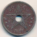 Бельгийское Конго, 20 сентим (1911 г.)