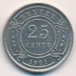 Белиз, 25 центов (1991 г.)