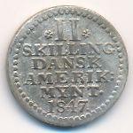 Датская Западная Индия, 2 скиллинга (1847 г.)