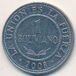 Боливия, 1 боливиано (2008 г.)