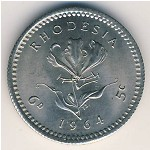 Rhodesia, 6 pence-5 cents, 1964