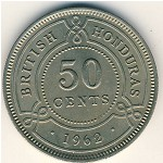 British Honduras, 50 cents, 1954–1971