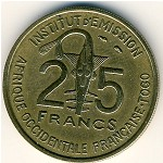 French West Africa, 25 francs, 1957
