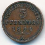 Рейсс-Обергрейз, 3 пфеннига (1864 г.)