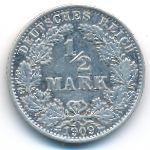 Германия, 1/2 марки (1909 г.)