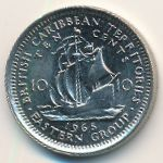 Восточные Карибы, 10 центов (1965 г.)