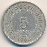Северное Борнео, 5 центов (1903–1938 г.)