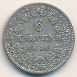 Баден, 6 крейцеров (1846 г.)