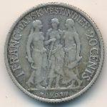 Датская Западная Индия, 20 центов (1907 г.)