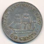 Danish West Indies, 20 cents, 1859–1862