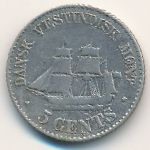 Danish West Indies, 5 cents, 1878–1879