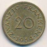 Саар, 20 франков (1954 г.)