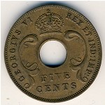 East Africa, 5 cents, 1941–1943