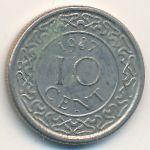 Суринам, 10 центов (1987 г.)