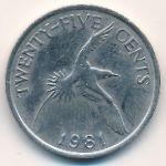 Бермудские острова, 25 центов (1981 г.)