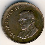 South Africa, 1 cent, 1968
