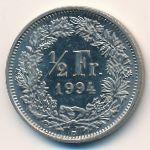 Швейцария, 1/2 франка (1984–2009 г.)
