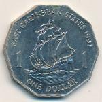 Восточные Карибы, 1 доллар (1991 г.)