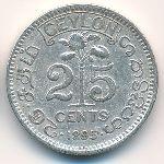 Цейлон, 25 центов (1895 г.)