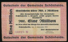 Шёнхайде., 1000000 марок (1923 г.)