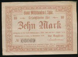 Мюльхаузен., 10 марок (1918 г.)