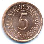 Маврикий, 5 центов (1987–2017 г.)