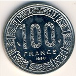 Central African Republic, 100 francs, 1992–2003