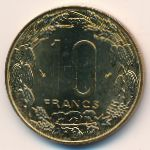 Central African Republic, 10 francs, 1974–2003