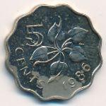 Свазиленд, 5 центов (1986 г.)