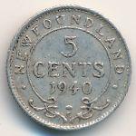 Ньюфаундленд, 5 центов (1940–1943 г.)
