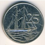 Cayman Islands, 25 cents, 1992–1996