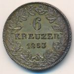 Франкфурт, 6 крейцеров (1853 г.)