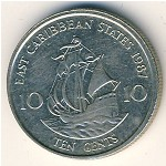 East Caribbean States, 10 cents, 1981–2000