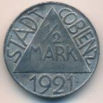 Кобленц., 1/2 марки (1921 г.)