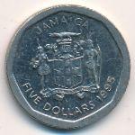 Ямайка, 5 долларов (1994–2018 г.)