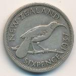 Новая Зеландия, 6 пенсов (1937 г.)