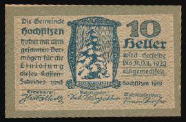 Хохфильцен., 10 геллеров (1919 г.)