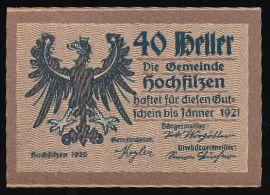 Хохфильцен., 40 геллеров (1921 г.)