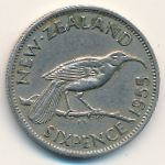 Новая Зеландия, 6 пенсов (1955 г.)