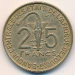 Западная Африка, 25 франков (1971–1978 г.)
