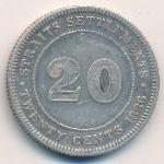 Стрейтс-Сетлментс, 20 центов (1886 г.)