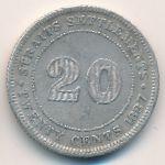 Стрейтс-Сетлментс, 20 центов (1887 г.)