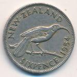 Новая Зеландия, 6 пенсов (1954 г.)