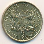 Кения, 5 центов (1989 г.)