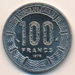 Central African Republic, 100 francs, 1975–1990