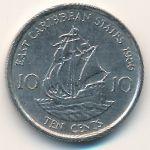 Восточные Карибы, 10 центов (1986 г.)